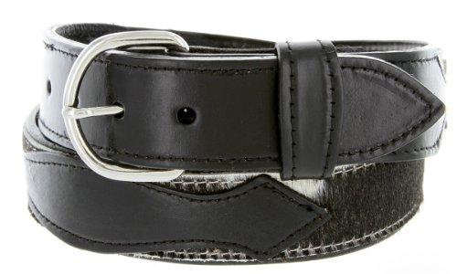 Black Hair Belt (Mens Western Hair-On Cowhide Strap Genuine Leather Cowboy Belt (36)