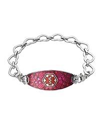 Divoti Custom Engraved Blooming Cherry Blossom Medical Alert Bracelet -Open Heart-TP Red