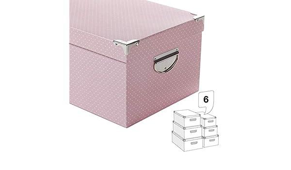Eideo Home Juego 6 Cajas Almacenamiento Decorativas para Guardar en Armario o Bajo Cama Carton Topos: Amazon.es: Hogar