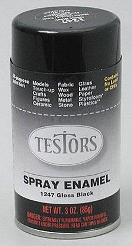 Gloss Black Enamel Paint 3oz Spray Can (Testors Spray Enamel)