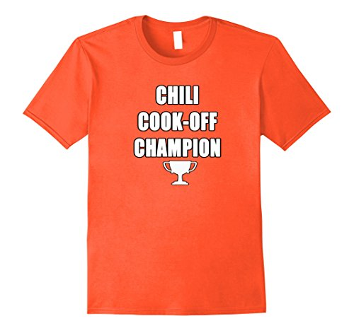 [Mens Chili Cook-Off Champion Shirt with Trophy Team Large Orange] (Chili Cook Off Costumes)