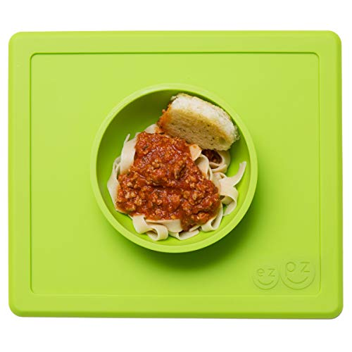 ezpz Happy Bowl - One-Piece Silicone placemat + Bowl - Pasta Bowl Sage