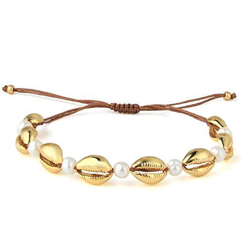 KELITCH Gold Shell Cowry Shell Pearl Beaded Bracelets Chic Beach Seashell Strand Bracelets for Girl (Gold 4G) (4 Strand Bracelet)