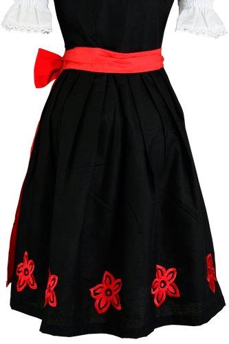 dirndloutlet.com - Vestido - acampanada - Manga corta - opaco - para mujer Black - Black/red