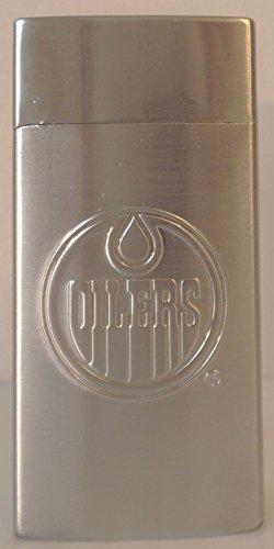 BIC NHL EDMONTON OILERS MINI LIGHTERS SILVER METAL HOLDER, METAL CASE