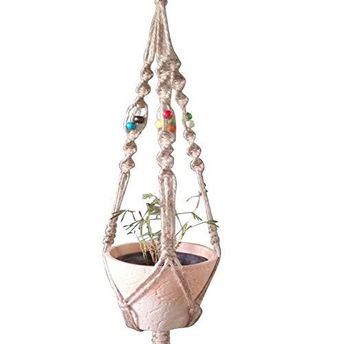 Macrame Plant Hanger, Indoor Outdoor Hanging Planter Basket Hanging Plant Holder Planter Stand Flower Pots for Decorations 4 Legs