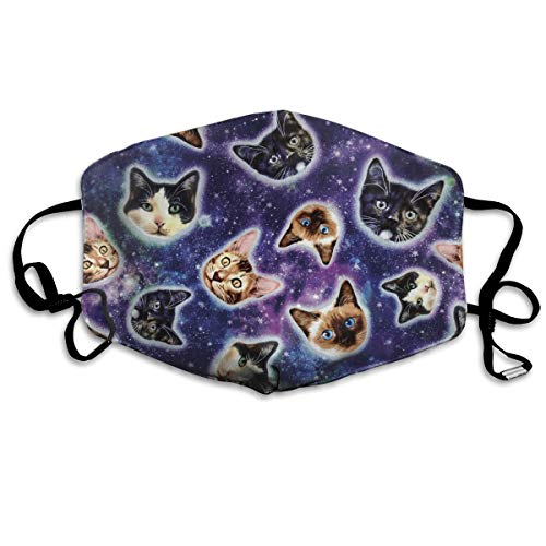 Premium Earloop Mouth Masks, Dustproof Anti Flu Pollenm Smog Mouth-Muffle with Adjustable Elastic Band - Windproof Galaxy Cats Heads Half Face Mouth Mask ()