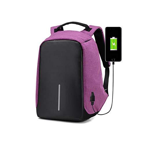 Portátil Mujeres Mochila Purple Carga USB Ocio Impermeable Black Puerto De con Wj Hombres Mochila Estudiante Mochila WqpZSSa