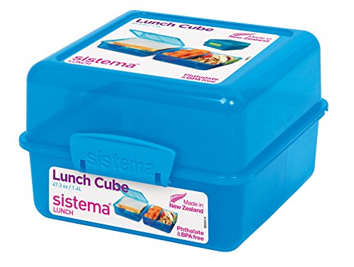 Lunch Cube - Sistema Lunch Collection Lunch Cube Food Storage Container, 47.3 Ounces/6 Cup, Assorted Colors