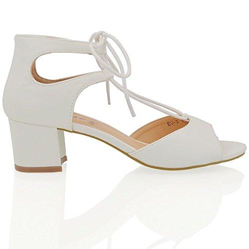 ESSEX GLAM Sintético Sandalias de punta abierta con tacón bajo cuadrado y tiras Blanco Cuero Sintético