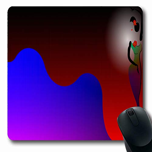 Ahawoso Mousepads Latin Red Ballet Young Hispanic Flamenco Performer Dancer Andalusian Black Carnival Design Music Oblong Shape 7.9 x 9.5 Inches Non-Slip Gaming Mouse Pad Rubber Oblong -