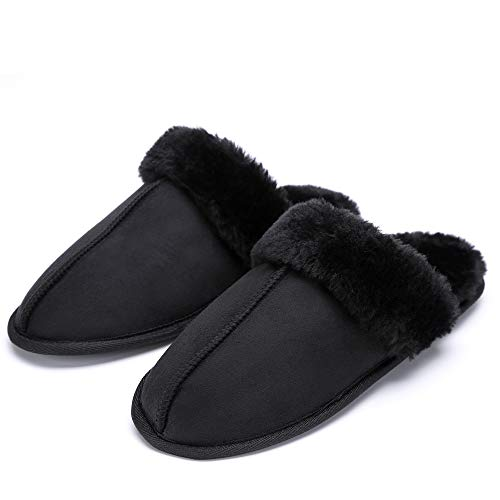 Price comparison product image LUFFYMOMO Cotton Slippers for Women Soft Cotton Knitted on Indoor Slipper (9-10 B (M) US Women / (Insole Length) 10.83inch,  Black)