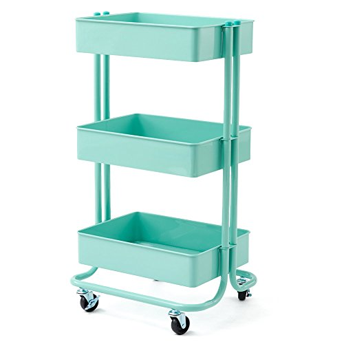 3-Tier Heavy Duty Storage Organizer Standing Shelf, EZOWare Multifunction Metal Mesh Basket Rolling Utility Organization Cart for Bathroom, Kitchen, Office, Salon & Spa -Teal