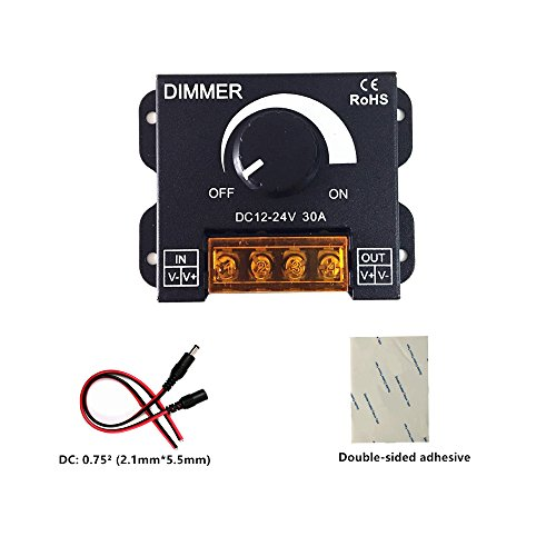 Pwm Dimmer (pwm dimmer 12V 24V 30A LED Dimmer Controller for Single Color LED Strip Lighting Lamp Ribbon Light Black Button Control Brightness (New style ))