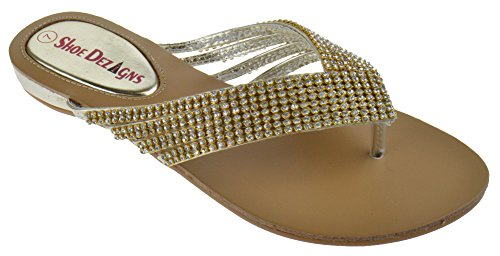 Shoe Dezigns Kylee 09 Womens Rhinestone Embellished Thong Flat Sandals Gold 8 ()