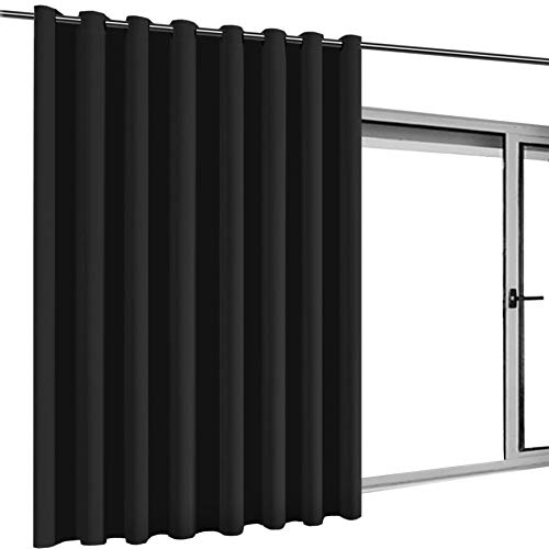 Turquoize Privacy Screen Room Divider Curtain Sliding Glass Door One Panel,8.3ft Wide x 9ft Long Thermal Insulated Premium Room Divider with Grommet Top Room Divider One Panel Black