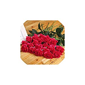 Liliy-luckly 11PCs Real Touch Fake Rose Flowers for Wedding Decor Valentine's Day Bouquet Artificial Flowers for Home Decoration,H,11 Pieces 17
