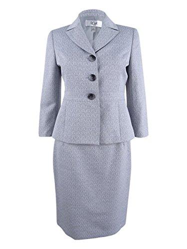(Le Suit Women's Cross Dye 3 Button Skirt Suit, Grey, 18)