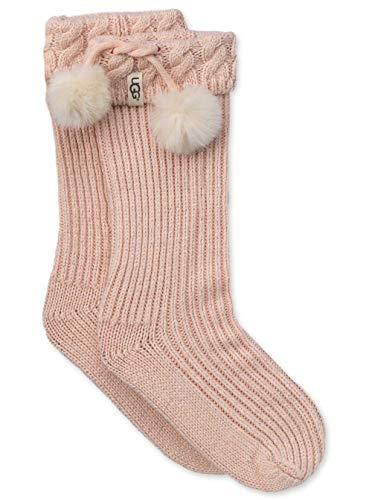UGG Girls' Big Raana Pom Rainboot Sock, fairy pink/Silver 8/10 YRS ()
