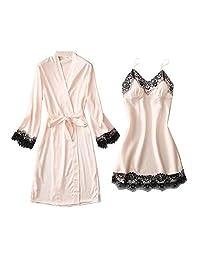 Chinashow Womens Satin Pajamas Set Sexy Ice Silk Suit Set Sleepwear/Nightwear Clothes, Pink #C