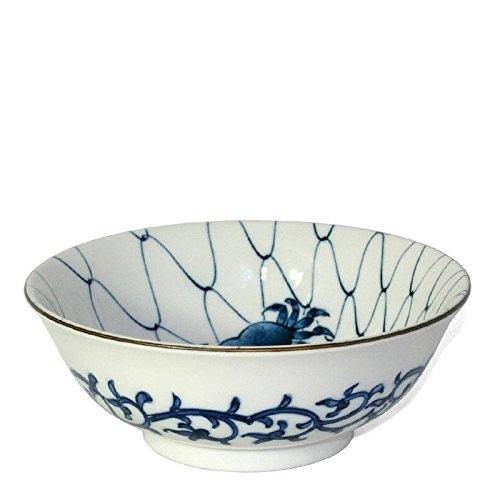 "Japanese Blue and White 7.5"" Large Ramen Noodle Bowl with Crab Motif"