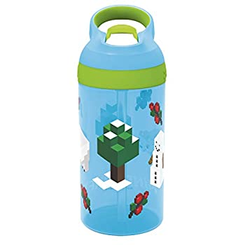 Zak Designs Minecraft Youngsters Water Bottle with Straw and Inbuilt Carrying Loop Fabricated from Sturdy Plastic, Leak-Proof Design (16 oz
