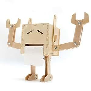 DIY Funny Wooden Robot Toilet Paper Box Creative Bathroom Tissue Box