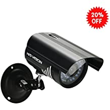 """HISVISION 1/3"""" CMOS 1200TVL CCTV Home Surveillance Weatherproof 36pcs Infrared Led 3.6mm lens Wide Angle Bullet Security Camera with IR Cut-100ft IR Night Vision Distance,Metal HousingBlack"""