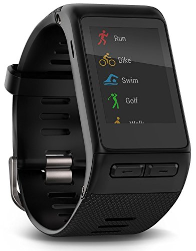 Bundle Garmin GPS vivoactive HR Smart Watch X-Large, Black, Regular with Garmin Wall Charging Adaptor