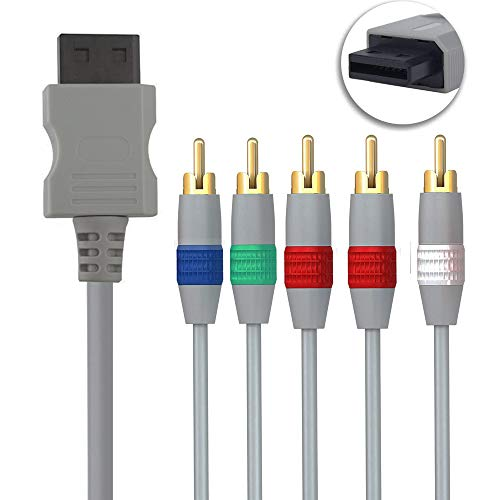 Wii Component Audio Video Cable, Nintendo Wii & Wii U Component Audio Video Cable HDAV Component HD AV Cable to HDTV/EDTV 5 RCA Video & RCA Stereo Audio AV Cord for Nintendo Wii & Wii U