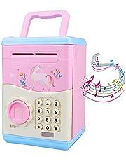 Cartoon Electronic Unicorn Piggy Bank ATM for Children Kids, Password Money Bank Toy Safe Box with Fingerprint, Money Banks Money Boxa for Boys Girls, Great Gift for Children, Fun Toy (Pink)