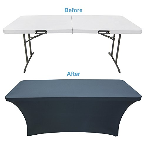 Houseables Black Table Cloths, Fitted Tablecloth Cover, 6 ft, Black, Rectangular Skirts, Polyester/Spandex, Elastic, Stretchable Linen, Stain & Wrinkle Proof, for Folding Tables, Wedding, DJ, Events (Skirt Linen Stretch)