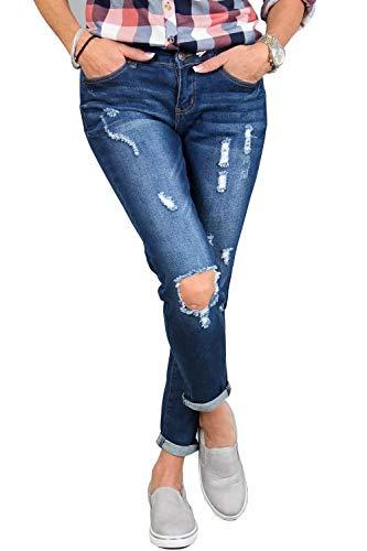 Ybenlover Femme Jeans Fonc Ybenlover Bleu Jeans S0wqd