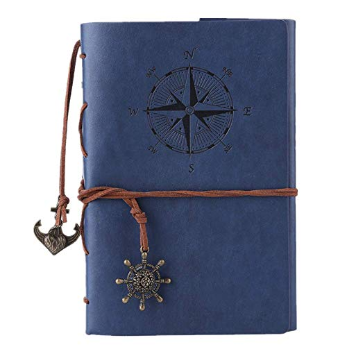 - Vintage Refillable Journey Diary, MALEDEN Premium PU Leather Classic Embossed Travel Journal Notebook with Blank Pages and Retro Pendants (Deep Blue)
