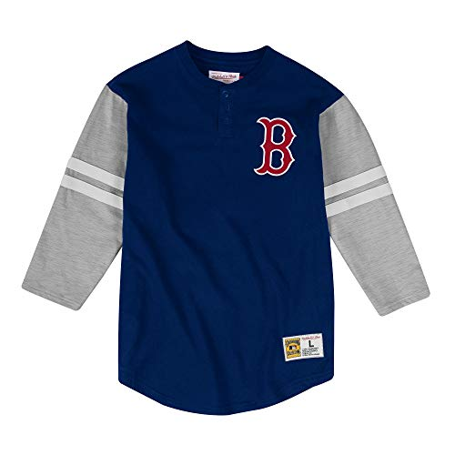 Mitchell & Ness Boston Red Sox MLB Men's Team Logo 3/4 Sleeve Henley Shirt