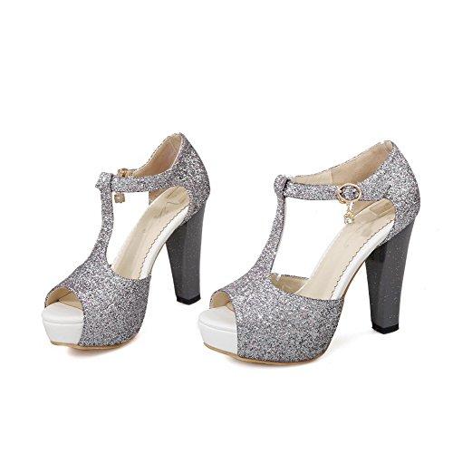 Solid Women's Buckle Soft Sandals Peep Heels Toe Silver WeenFashion High Material wpq7nUg1n8