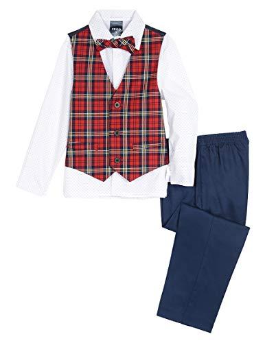Izod boys 4-Piece Vest Set with Dress Shirt, Bow Tie, Pants, and Vest, Roasted Rouge, 2T