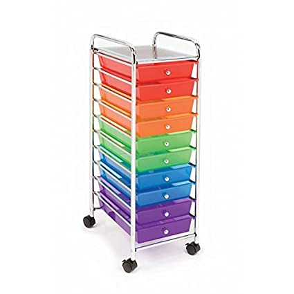 Seville Classics 10 Drawer Organizer Cart, Translucent Color Coded