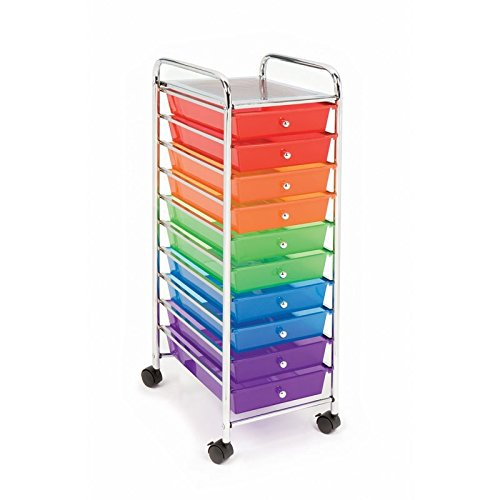 Seville Classics 10-Drawer Organizer Cart, Translucent Color-Coded
