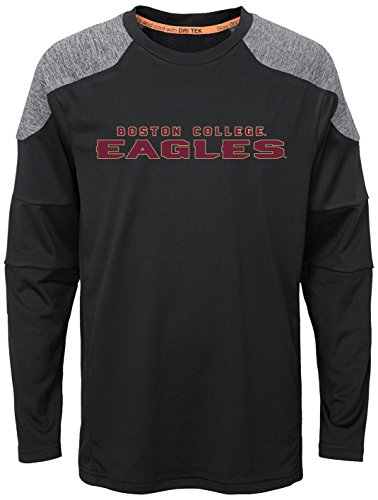 NCAA Boston College Eagles Youth Boys Gamma Long Sleeve Performance Tee, S(8), Black