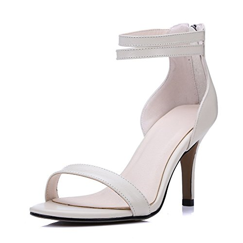 AgooLar Women's Zipper Open Toe High Heels Pu Solid Sandals Beige WW5s1cZ