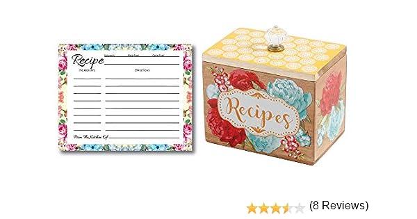 L&P Designs - Caja de recetas para mujer, 50 tarjetas de recetas, organizador de tarjetas de recetas, caja de recetas de madera, ideas únicas, soporte de recetas vintage para cocina, tarjetas de