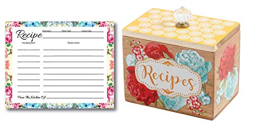 L & P Designs Pioneer Woman Recipe Box Gift Set, 50 Blank Recipe Cards, Recipe Cards Storage Box Organizer, Wooden Recipe Box, Unique Ideas, Kitchen Vintage Recipe Holder, Floral Recipe Cards for $<!--$49.99-->