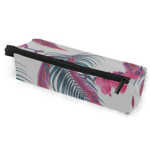 Jung Tropical Print - Pen Holder/Stationery Cosmetic Makeup Bag Pouch Round Case Tropical Orchid Branch Petals Buds Spring Blooming Flowers Vintage Minimalist Print Polyester Zipper Pencil Bag Multi-Function Bag