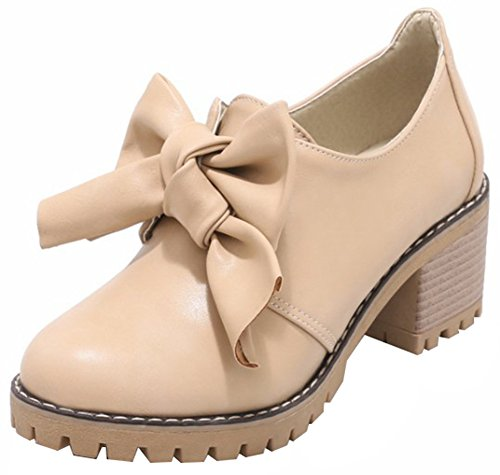 (Mofri Women's Bowknot Pump - Sweet Low Top Round Toe - Slip on Stack Block Medium Heel Shoes (Apricot, 6 B(M) US))