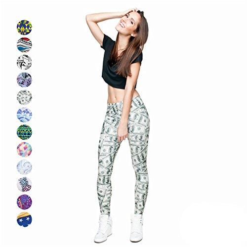 Yoga Leggings Spandex for Women - 12 Funky Styles - Slimming Comfortable Patterned Pants (Money, US 12 -18)
