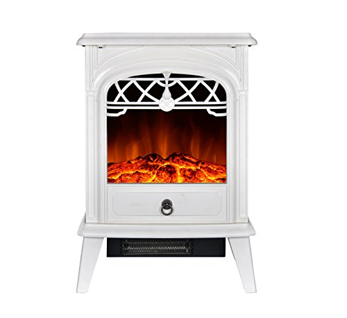 GMHome Free Standing Electric Fireplace Cute Electric Heater Log Fuel Effect Realistic Flame Space Heater, 1500W – White