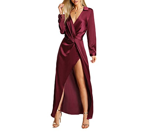 Prettyever Elegant Sexy Party Dress Satin Front Twist Wrap Dress Lapel Deep V Neck Long Sleeve Split Maxi (Wrap Dress Front Satin)