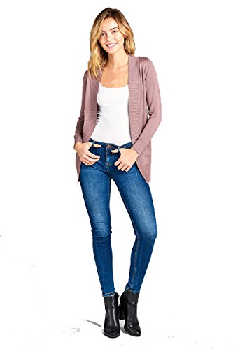 YourStyle Women Open Front Long Sleeve Classic Knit Cardigan (X-Large, Vintage Lavender)