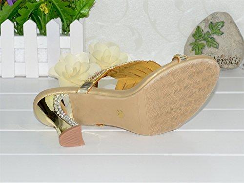 Unicrystal - Talón abierto Mujer, color Dorado, talla 35